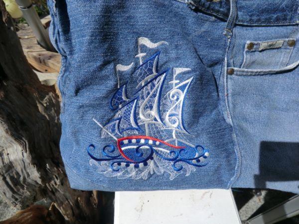 maritime Jeans -Einkaufstasche mit Monogramm