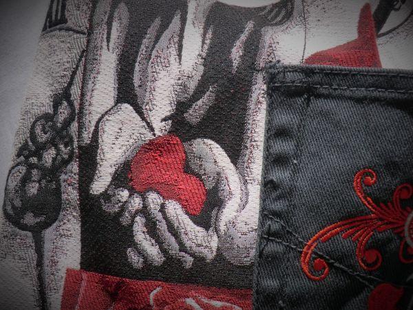 Herz-Jacqardstoff +Jeans zum Turnbeutel by IMix
