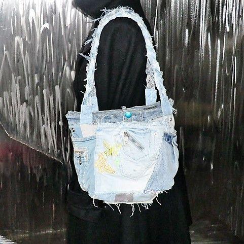 Jeans-Streifen-Patchwork-LOXX-Tasche