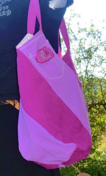 Wende-Windmühlen-Jeanstasche lila/ beere & weiß/pink