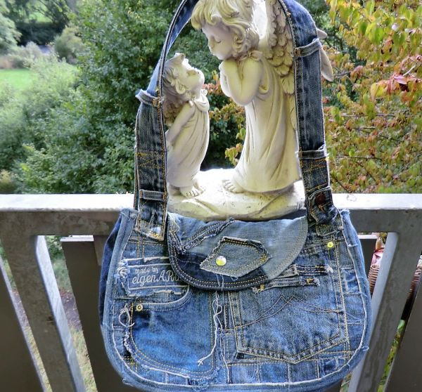 Patchwork-Jeans-Leder-Tasche-Druckknopf