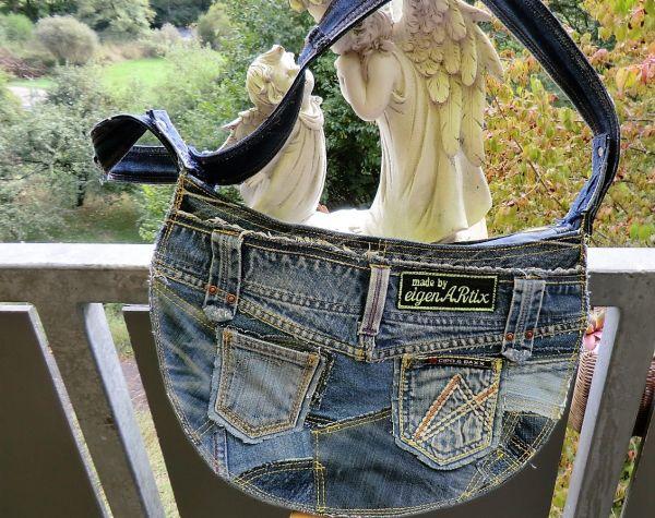 Patchwork-Jeans-Leder-Tasche