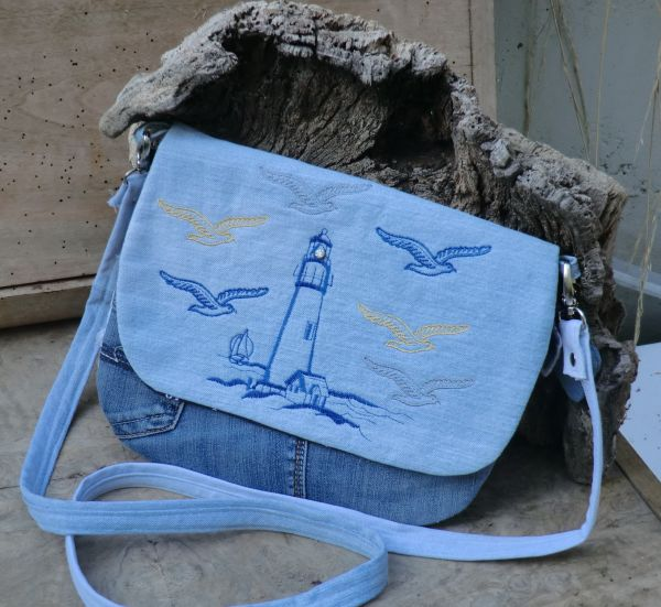 maritime Tasche mit Leuchtturm