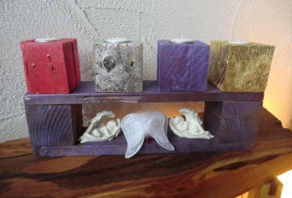 metallic violett Basisständer und vier Teelichtkerzenhalter als Set