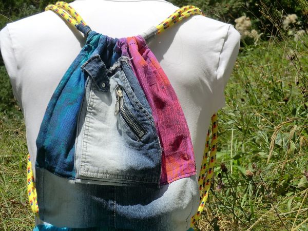 Turnbeutel Jeans bunt