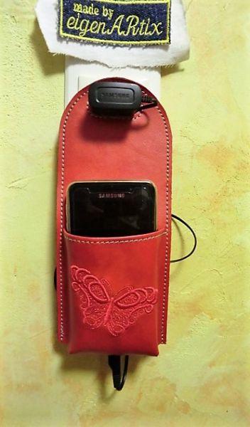 Handy Ladetasche-rot-Schmetterling