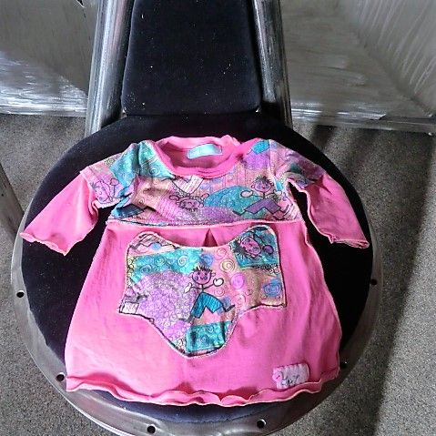 Upcycling Rosa buntes Kleidchen Größe 68/74