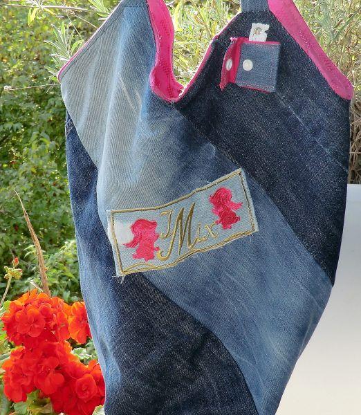 Wende-Windmühlen-Jeanstasche -jeans-blau-pink