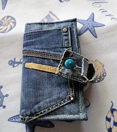 Geldbörse Jeans blau mit türkisem LOXX