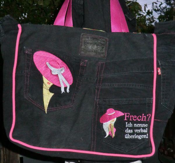 Tasche schwarz mit pink